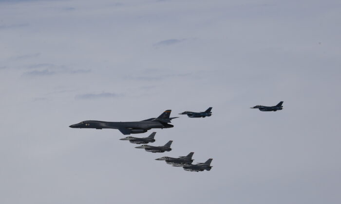 A U.S. Air Force B-1B Lancer from Ellsworth Air Force Base, S.D., and F-16 Fighting Falcons from Misawa Air Base, Japan, conducted bilateral joint training with Japan Air Self-Defense Force (JASDF) F-2s and F-15s off the coast of Northern Japan, April 22, 2020. (Japan Air-Self Defense Force)