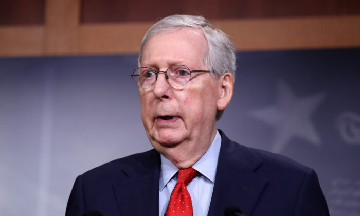 Senate Majority Leader Sen. Mitch McConnell (R-Ky.) speaks during a news briefing at the U.S. Capitol in Washington on April 21, 2020. (Chip Somodevilla/Getty Images)