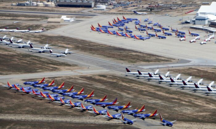 Aircraft parked at the Southern California Logistics Airport (SCLA) in Victorville, Calif., on April 11, 2020. (Fred Fourcher)
