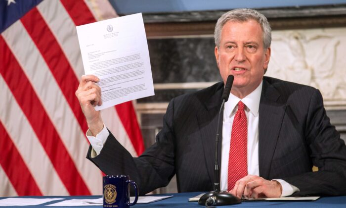 Mayor Bill De Blasio speaks during a video press conference on the city's response to the coronavirus (COVID-19) outbreak held at City Hall in New York City on March 19, 2020. (William Farrington/Getty Images)