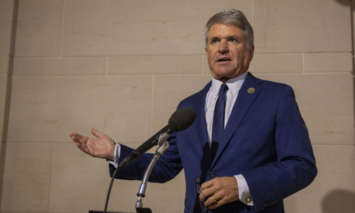 U.S. Rep. Michael McCaul (R-Texas) speaks to the media before a closed session before the House Intelligence, Foreign Affairs and Oversight committees at the U.S. Capitol in Washington on Oct. 15, 2019. (Tasos Katopodis/Getty Images)