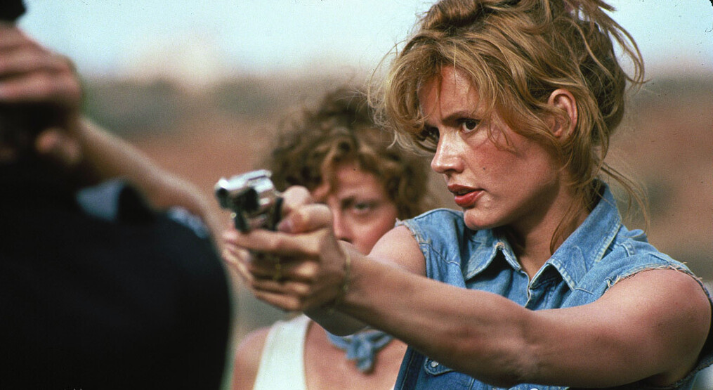 """woman with jeans vest and revolver in """"Thelma & Louise"""""""