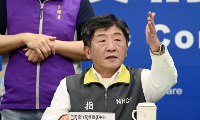 Taiwan's Minister of Health and Welfare Chen Shih-chung gestures during a press conference at the headquarters of the Centers for Disease Control (CDC) in Taipei, Taiwan, on March 11, 2020.  (Sam Yeh/AFP via Getty Images)