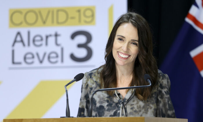 Prime Minister Jacinda Ardern speaks to media during a press conference at Parliament in Wellington, New Zealand, on April 28, 2020. (Hagen Hopkins/Getty Images)