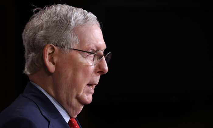 Senate Majority Leader Mitch McConnell (R-Ky.) speaks during a news briefing at the U.S. Capitol in Washington on April 21, 2020. (Chip Somodevilla/Getty Images)