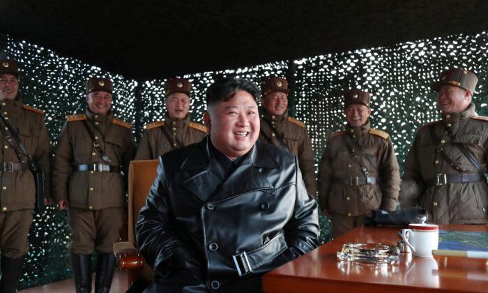 North Korean leader Kim Jong Un observes the firing of suspected missiles in this image released by North Korea's Korean Central News Agency (KCNA) on March 22, 2020. (KCNA/via REUTERS)