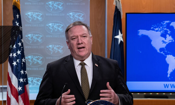 U.S. Secretary of State Mike Pompeo speaks at a press briefing at the State Department in Washington, U.S., April 22, 2020.  (Nicholas Kamm/Pool via Reuters)