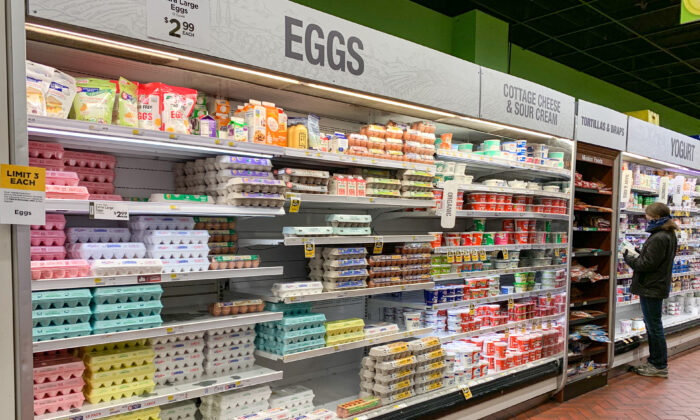 Eggs in a Fairway Market in Manhattan, New York City, on April 27, 2020. (Chung I Ho/The Epoch Times)