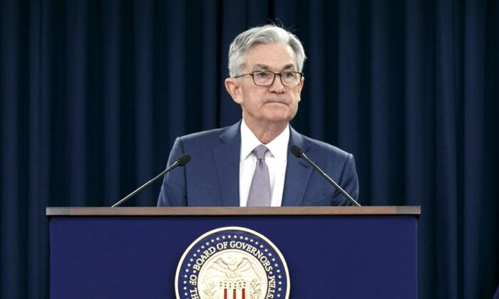 Federal Reserve Chair Jerome Powell speaks during a news conference to discuss an announcement from the Federal Open Market Committee, in Washington on March 3, 2020. (Jacquelyn Martin/AP Photo)