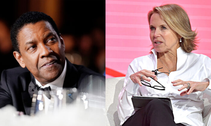 File photos of Denzel Washingtong (Erik Voake/Getty Images for WarnerMedia) and Katie Couric (Emma McIntyre/Getty Images for MAKERS))