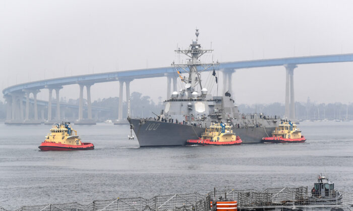 The guided-missile destroyer USS Kidd arrives in San Diego as part of the Navy's aggressive response to the COVID-19 outbreak on board the ship, on April 28, 2020. (U.S. Navy photo by Mass Communication Specialist 2nd Class Alex Millar/ Released)