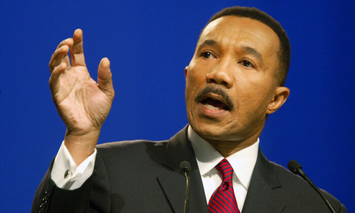 File photo of then-NAACP President Kweisi Mfume addresses the association at its 94th annual convention in Miami Beach, Florida, on July 14, 2003. (Joe Raedle/Getty Images)