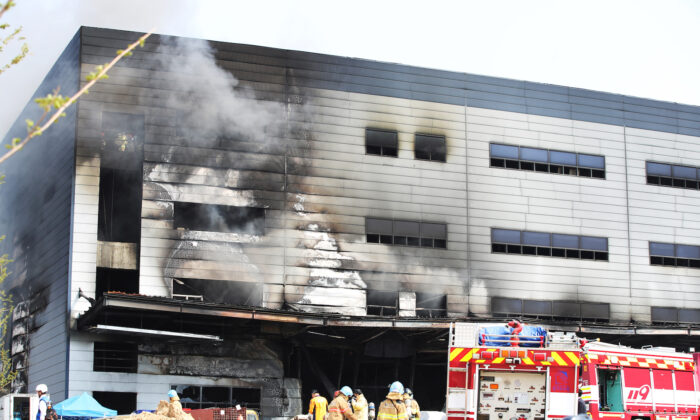 Smoke rises from a warehouse which is currently under construction, after it caught fire, in Icheon, South Korea, on April 29, 2020. (Yonhap via Reuters)