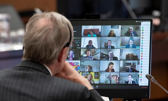 Canadian Members of Parliament are shown on a monitor during a virtual session of the House of Commons Tuesday April 28, 2020 in Ottawa. (Adrian Wyld/The Canadian Press)