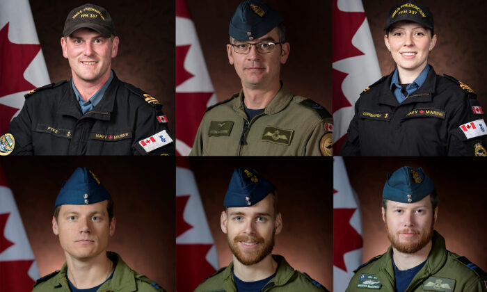 The crew of a C-148 Cyclone helicopter, attached to Royal Canadian Navy frigate HMCS Fredricton, which crashed in the Mediterranean Sea are seen in a combination of file photos released April 30, 2020. From top left to right are Naval Warfare Officer Sub-Lieutenant Matthew Pyke, Airborne Electronic Sensor Operator Master Corporal Matthew Cousins, Airborne Electronic Sensor Operator Maritime Systems Engineering Officer Sub-Lieutenant Abbigail Cowbrough and from bottom left to right are pilot Captain Kevin Hagen, Air Combat Systems Officer Captain Maxime Miron-Morin and pilot Captain Brenden Ian MacDonald. (Royal Canadian Navy/Handout via REUTERS)