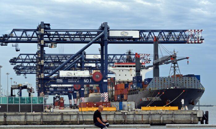 Botany port in Sydney, Australia, April 16, 2020. (SAEED KHAN/AFP via Getty Images)