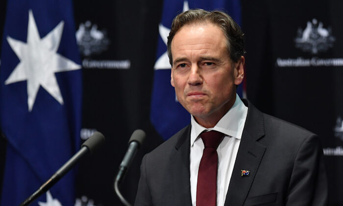 Minister for Health Greg Hunt addresses a press conference in the Main Committee Room at Parliament House on April 8, 2020 in Canberra, Australia. (Sam Mooy/Getty Images)