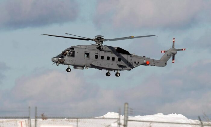 A CH-148 Cyclone maritime helicopter is seen during a training exercise at 12 Wing Shearwater near Dartmouth, N.S. on March 4, 2015. (The Canadian Press/Andrew Vaughan)