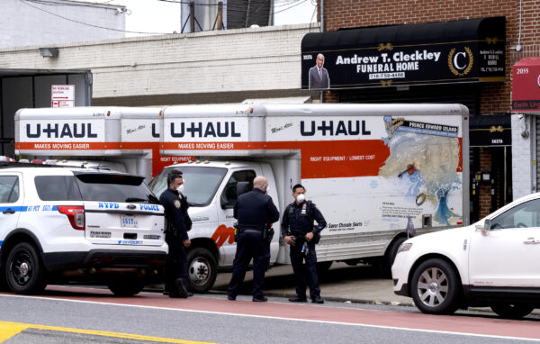 NYC police at funeral home