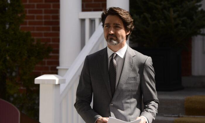 Prime Minister Justin Trudeau addresses Canadians on the COVID-19 pandemic from Rideau Cottage in Ottawa on April 29, 2020. (Sean Kilpatrick/The Canadian Press)