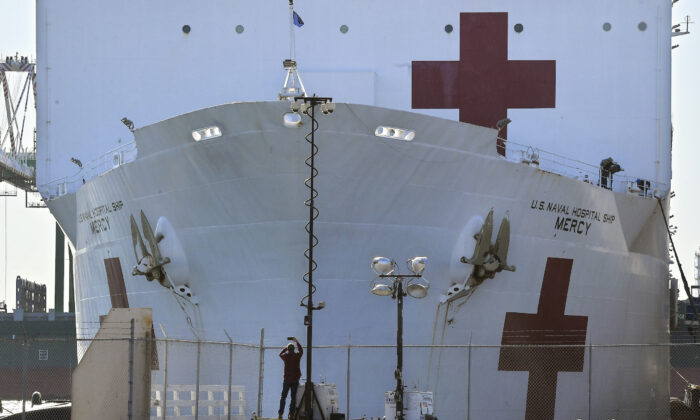 A picture of the USNS Mercy as it docks at the Port of Los Angeles on March 27, 2020. Los Angeles hasn't been overrun with virus cases, and so the Mercy has not had to play its envisioned role of being a safety net in order to allow hospitals to focus on treating those infected with the virus. (Mark J. Terrill/AP photo, File)