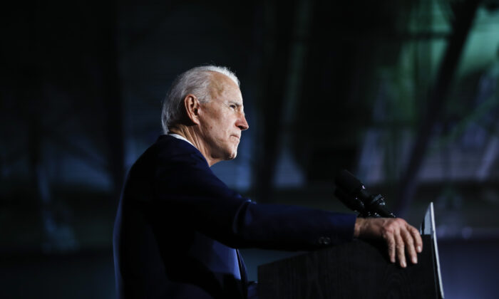 Democratic presidential candidate former Vice President Joe Biden speaks at a primary night election rally in Columbia, S.C., on Feb. 29, 2020. (Matt Rourke/AP Photo)