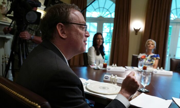 Chairman of White House Council of Economic Advisers Kevin Hassett speaks during an event at the White House in Washington on June 13, 2019. (Alex Wong/Getty Images)