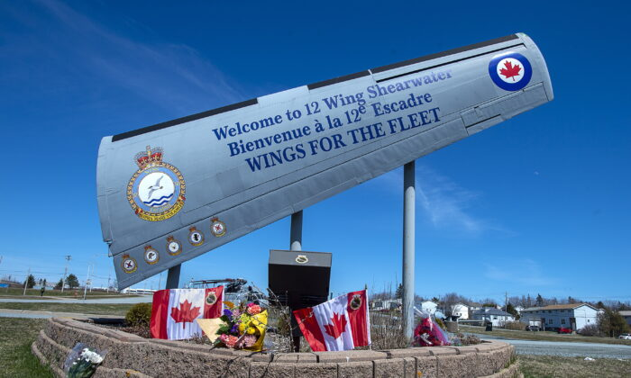 A memorial is seen at 12 Wing Shearwater in Dartmouth, N.S., home of 423 Maritime Helicopter Squadron, on April 30, 2020. (Andrew Vaughan/The Canadian Press)