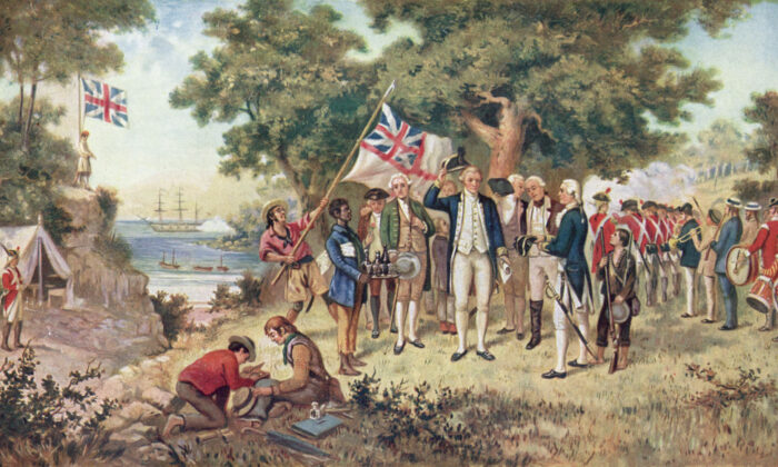 1st April 1770: A print from a painting showing Captain James Cook (1728 - 1779) taking possession of New South Wales, taken from the collection of the Philosophical Institute of Victoria. (Hulton Archive/Getty Images)