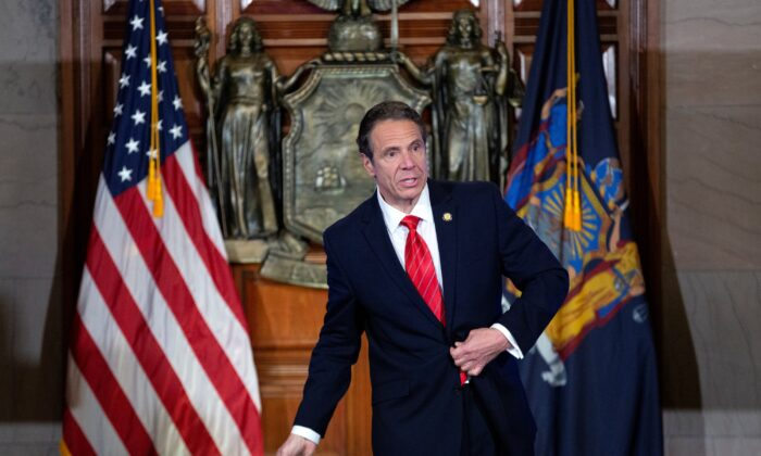 New York State Gov. Andrew Cuomo speaks as he departs his daily press briefing in Albany, N.Y.,on May 1, 2020. (Stefani Reynolds/Getty Images)