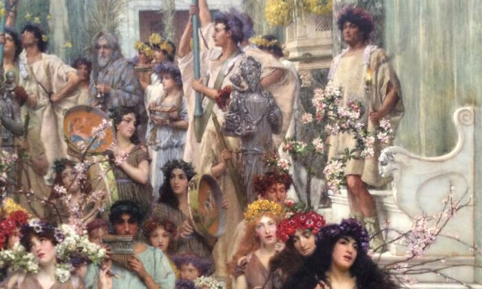 "Detail of musicians and procession in ""Spring,"" 1894, by Lawrence Alma-Tadema. The J. Paul Getty Museum, Los Angeles. (Public Domain)"