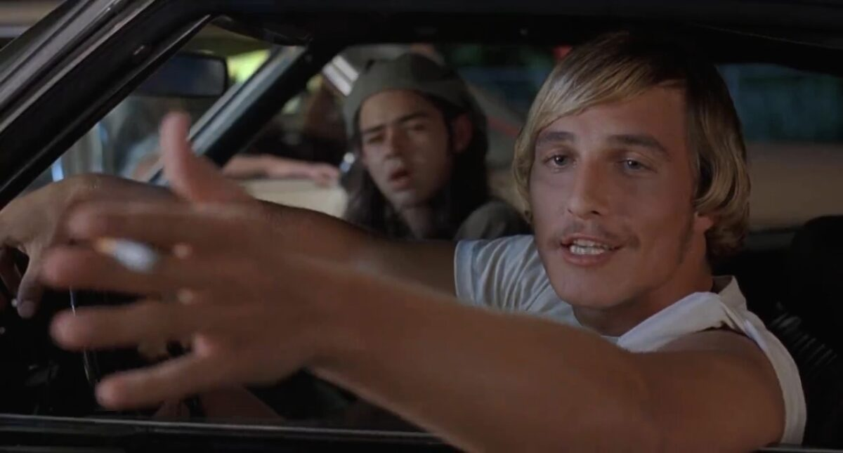 "Two boy in a car in ""Dazed & Confused"""