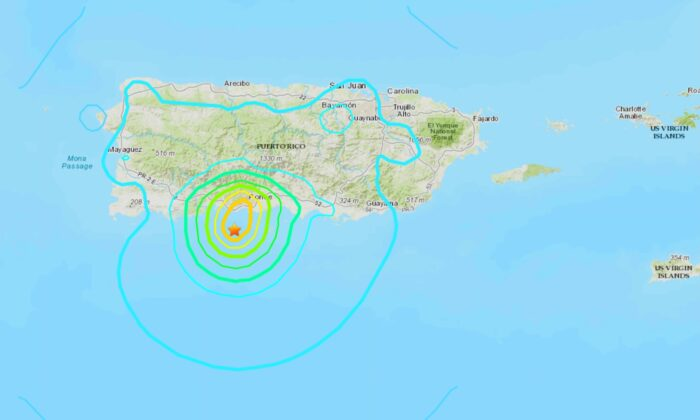 A map showing the location of the May 2, 2020, 5.5 magnitude earthquake just off the coast of Puerto Rico. (USGS)