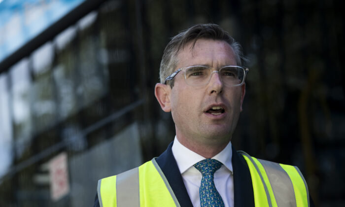 NSW Treasurer Dominic Perrottet speaks to the media at the Waverley Bus depot on April 29, 2020 in Sydney, Australia. (Brook Mitchell/Getty Images)