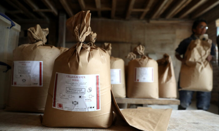 Wholemeal flour bags ready for delivery at Charlecote Mill in Hampton Lucy, Warwickshire, UK on April 29, 2020. (David Rogers/Getty Images)
