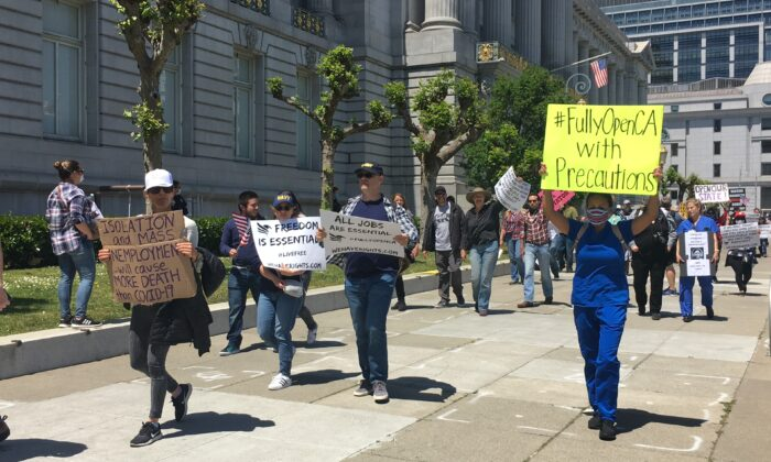San Francisco protesters gather at City Hall on May 1, 2020, to call for reopening California. (Ilene Eng/The Epoch Times)