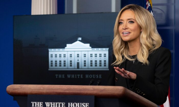 White House Press Secretary Kayleigh McEnany holds her first press conference at the White House on May 1, 2020. (Jim Watson/AFP/Getty Images)