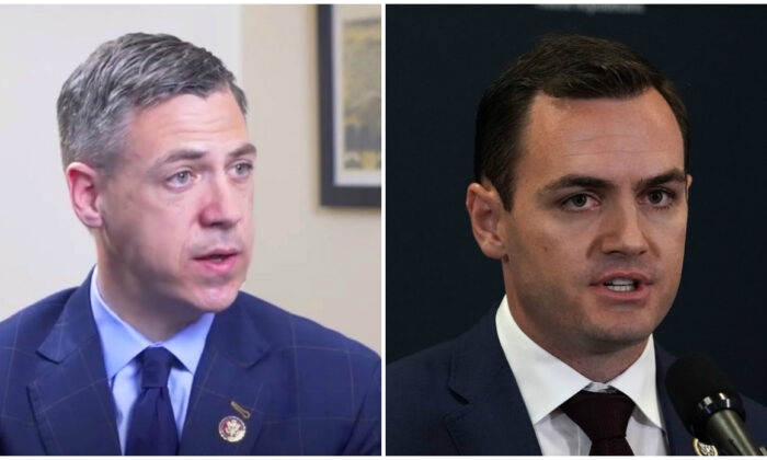 (L) Rep. Jim Banks (R-Ind.) speaks to The Epoch Times in an interview in March 2019. (Video screenshot/The Epoch Times) (R) Rep. Mike Gallagher (R-Wis.) speaks during a news briefing after a House Republican Conference meeting on Capitol Hill in Washington on May 22, 2018. (Alex Wong/Getty Images)