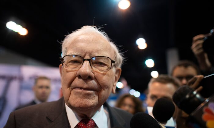 Warren Buffett, CEO of Berkshire Hathaway, speaks to the press as he arrives at the 2019 annual shareholders meeting in Omaha, Neb., May 4, 2019. (Johannes Eisele/AFP/Getty Images)