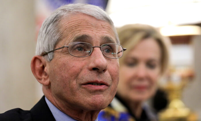 National Institute of Allergy and Infectious Diseases Director Dr. Anthony Fauci speaks in the Oval Office at the White House in Washington, on April 29, 2020. (Carlos Barria/Reuters)