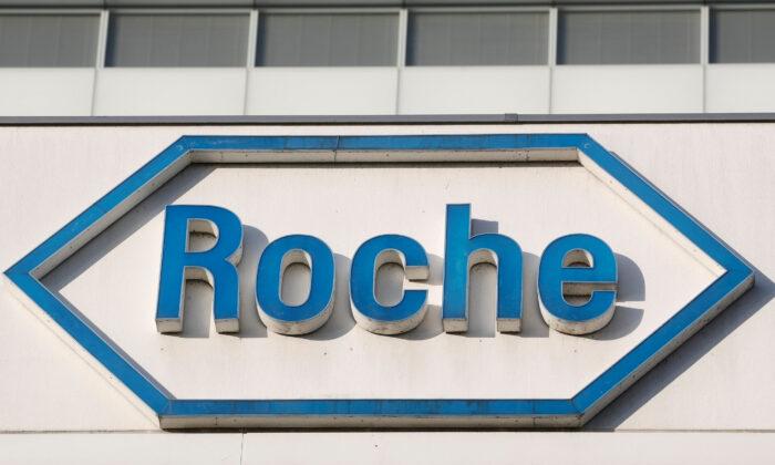The logo of Swiss drugmaker Roche is seen at its headquarters in Basel, Switzerland Jan. 30, 2020. (Arnd Wiegmann/REUTERS)