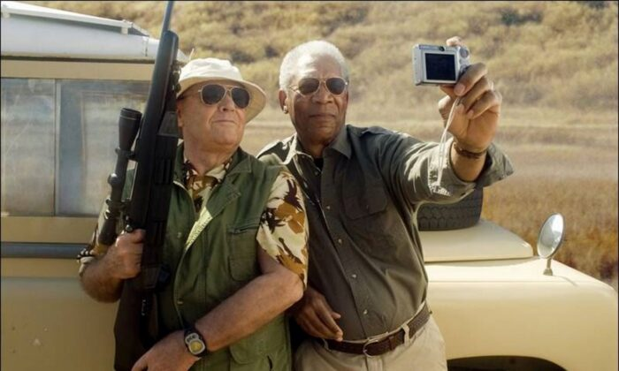 """Edward Cole (Jack Nicholson) and Carter Chambers (Morgan Freeman) take a selfie on their last trip, in """"The Bucket List."""" (Warner Bros. Pictures)"""
