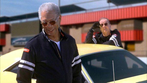 Morgan Freeman near a car