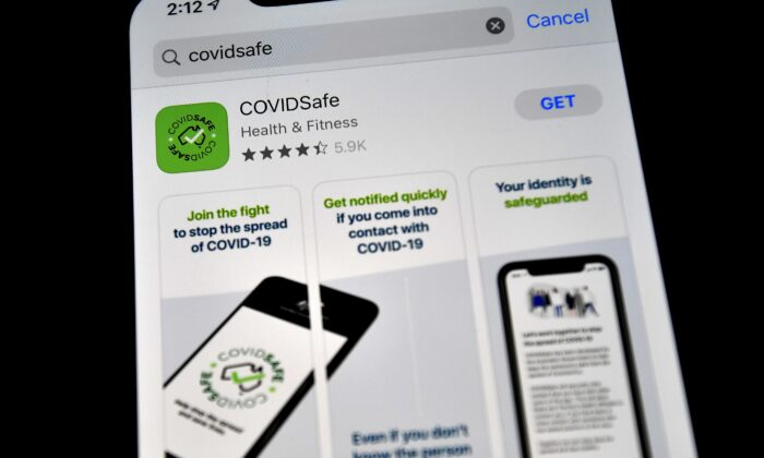 COVIDSafe on Iphone, Sydney, Australia, April 27, 2020. (Saeed Khan/AFP via Getty Images)