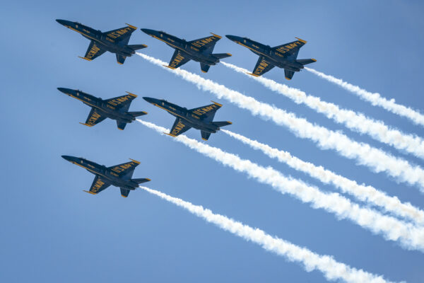 The U.S. Navy Blue Angels fly over the National Mal