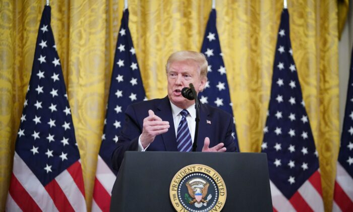 President Donald Trump speaks on protecting Americas seniors from the COVID-19 pandemic in the East Room of the White House in Washington, on April 30, 2020. (Mandel Ngan/AFP via Getty Images)