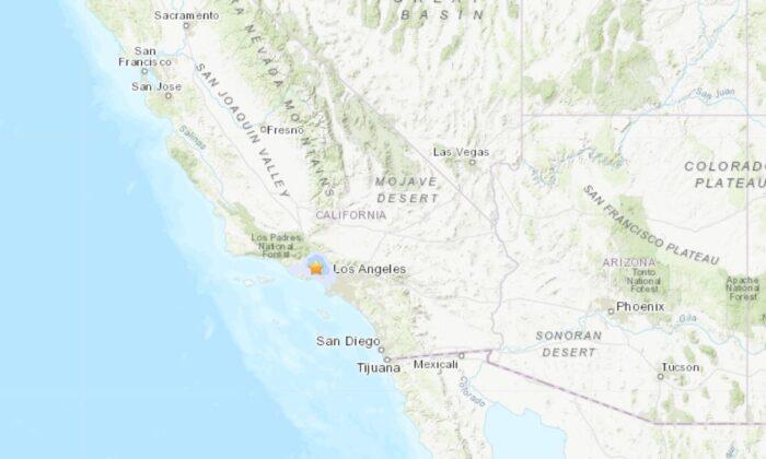 A 3.3 magnitude earthquake hit Los Angeles, California, jolting people awake on Sunday morning. (USGS)