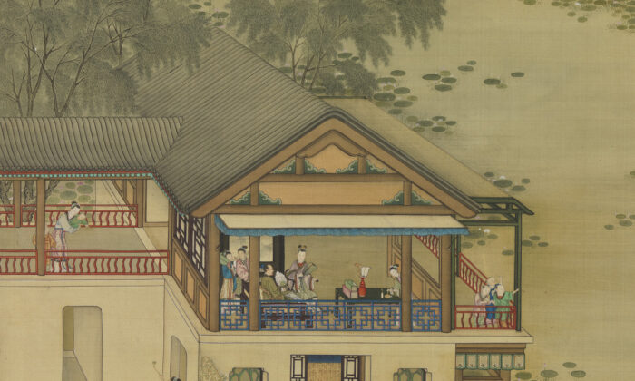 "Part of a Qing Dynasty painting titled ""Activities of the Twelve Months (The Sixth Month),"" showing various activities people engage in during the month of June. One of a set of 12 hanging scroll paintings by anonymous Qing Dynasty court artists. (Public Domain)"