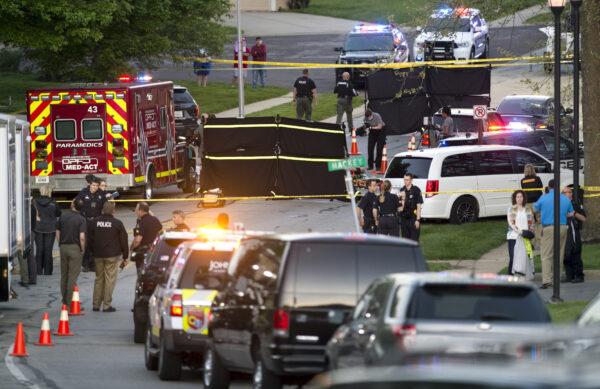 Police investigate at the scene