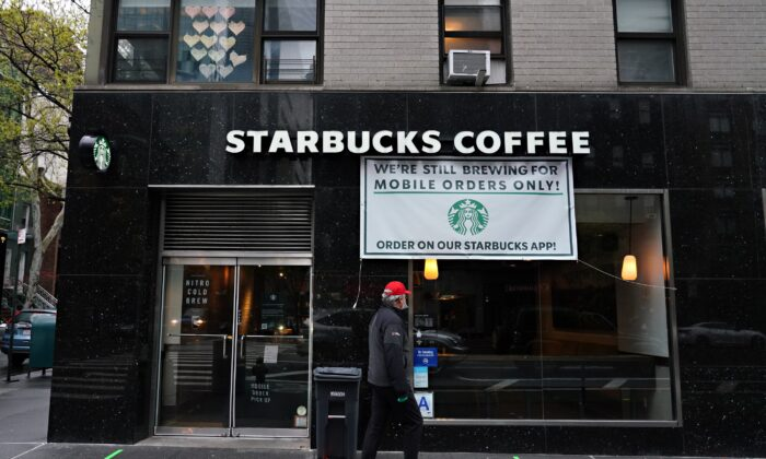 A view of a Starbucks Coffee open only for mobile orders during the COVID-19 pandemic in New York City on April 24, 2020. (Cindy Ord/Getty Images)